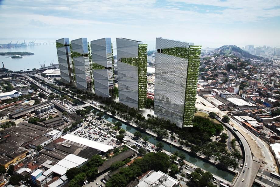 Projeto terá cinco torres de 150 metros de altura e 38 andares cada um.<br>