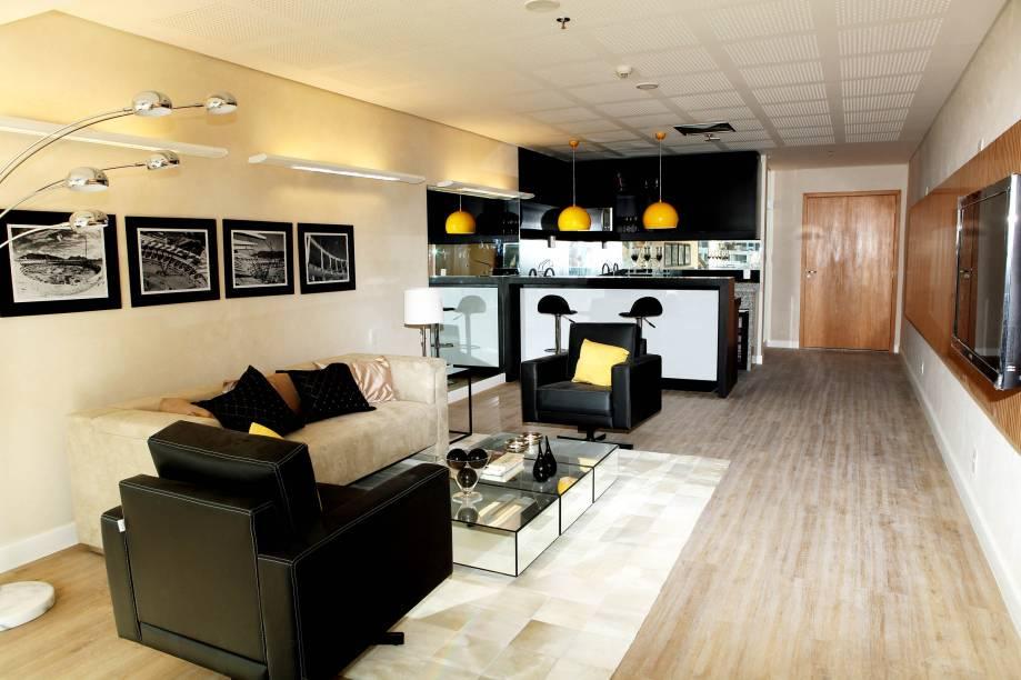 A sala de estar pode ser mobiliada ao gosto do futuro proprietário.<br>