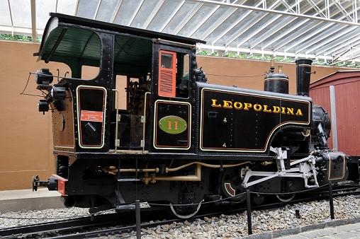 No local é possível ver ainda a antiga locomotiva da estrada de ferro Leopoldina<br>