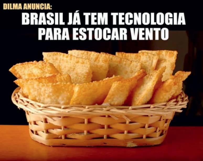 O PODER DO VENTO Um confuso discurso da presidente Dilma Rousseff sobre energia eólica rendeu piadas na rede, entre elas a dos pastéis acima