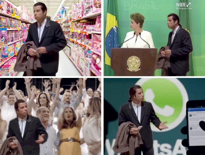 Um dos maiores sucessos no Facebook nas últimas semanas, a cena de um confuso John Travolta, retirada do filme Pulp Fiction, estampou uma sucessão de piadas animadas, uma mais hilariante que a outra. Elas colocavam o personagem Vincent Vega nos cenários mais bizarros, como a seção de brinquedos de um supermercado. Por aqui, ele despontou ao lado da presidente Dilma, na mensagem de fim de ano da Rede Globo e na proibição judicial do WhatsApp, no último dia 17