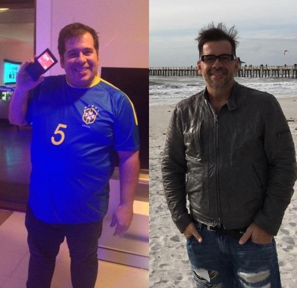 Antes e depois: Antes da cirurgia, o humorista pesou 150 kg