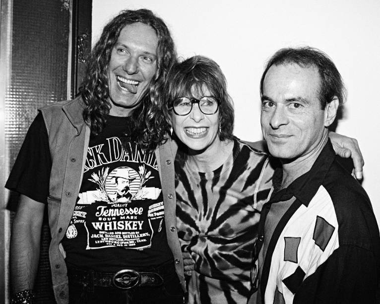 Eduardo Dussek, Rita Lee e Ney Matogrosso em show da cantora no Canecão, em julho de 1995