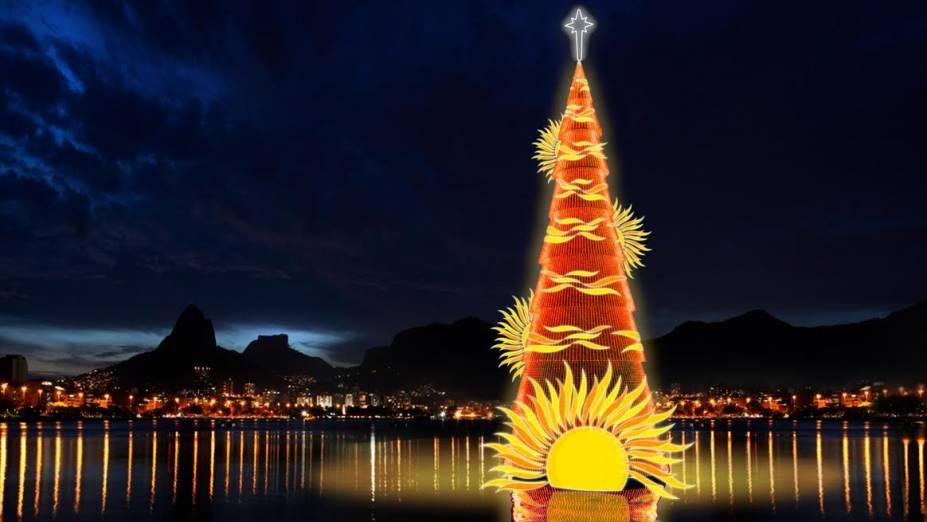 Árvore de Natal flutuante começou a ser montada em 29 de setembro