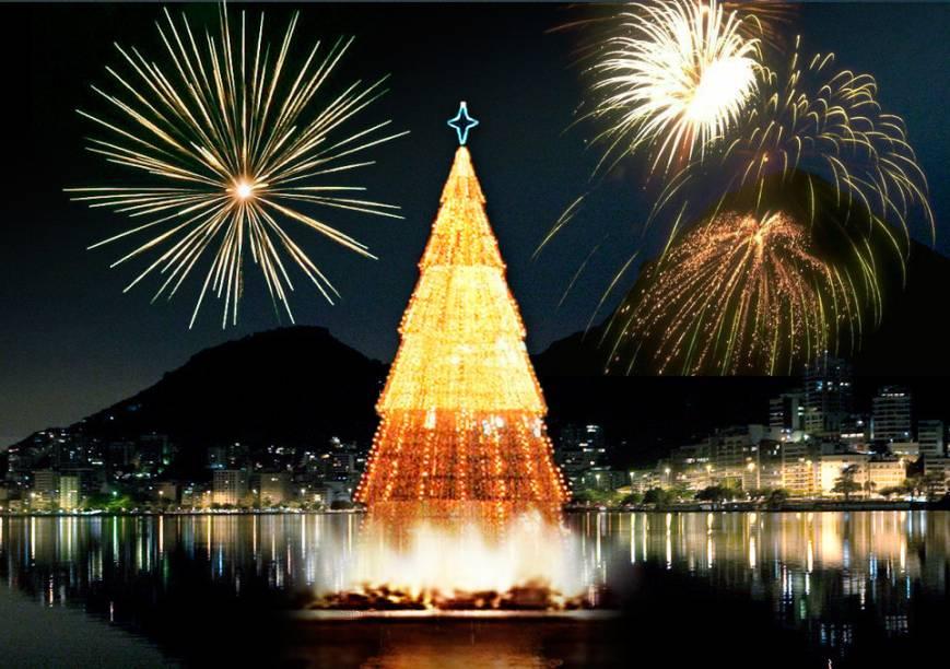 A primeira vez que a Árvore de Natal foi montada na Lagoa foi em 1996. Ela contou com 1,5 milhão de microlâmpadas, media 48 metros de altura e pesava 90 toneladas