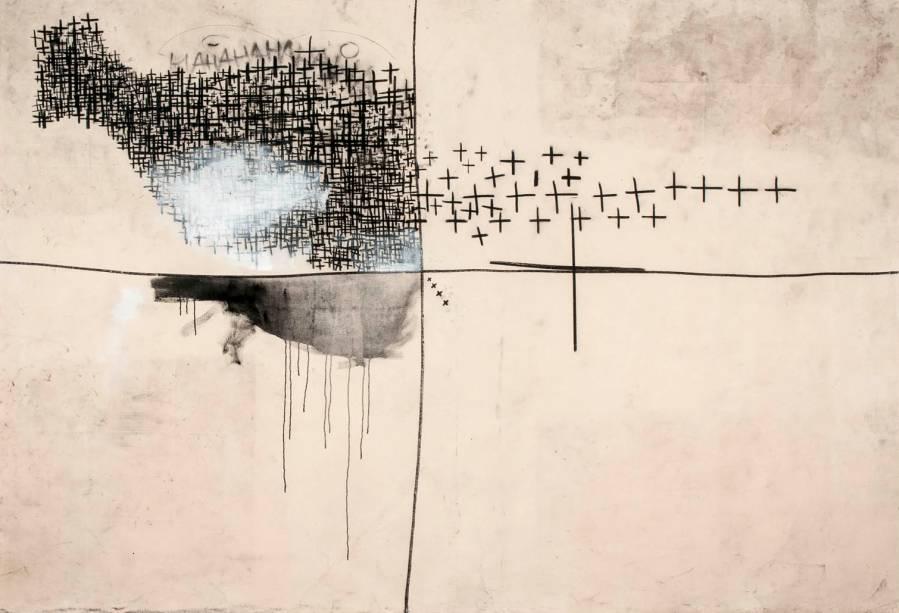 Espaço 01 (2014): nanquim, carvão, acrílica e verniz sobre lona, de Gustavo Speridião