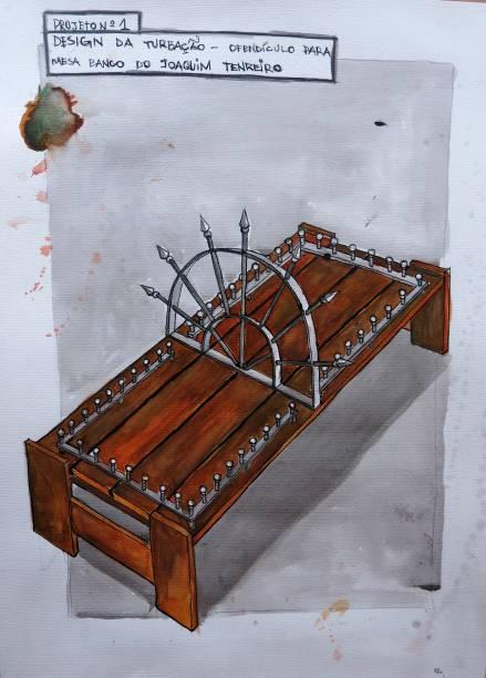 Projeto n° 1 - Design da Turbação - Ofendículo para Mesa/Banco de Joaquim Tenreiro(2015): aquarela, nanquim e grafite sobre papel, de Daniel Murgel