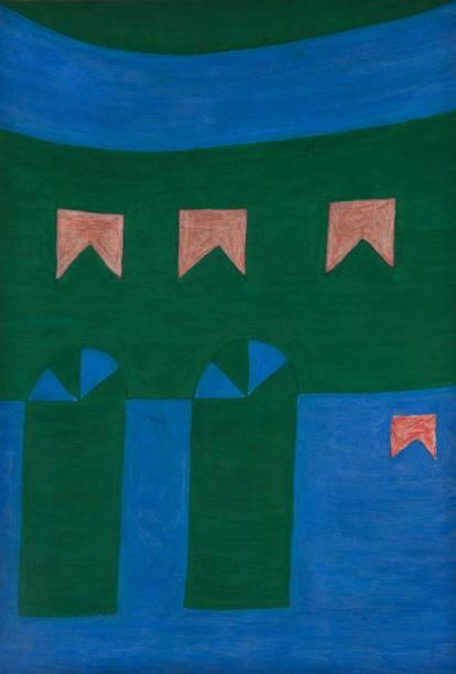 Fachada (década de 60): têmpera sobre cartão colado em madeira, de Alfredo Volpi