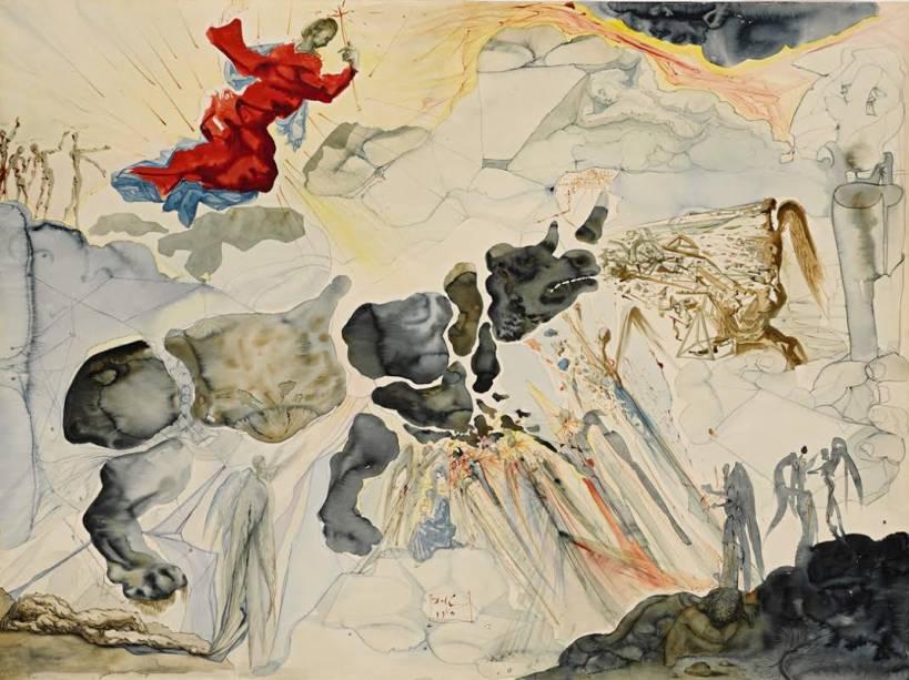 Rhinocéros en Désintégration (1950): aquarela, guache e nanquim sobre papel, de Salvador Dalí