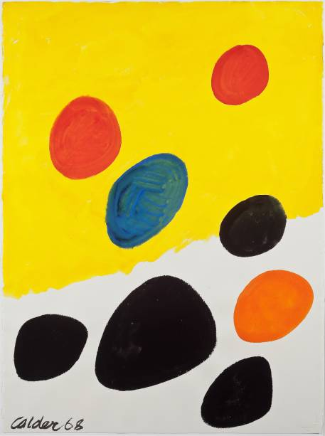 Yellow and White Field (1968): Guache sobre papel, de Alexander Calder