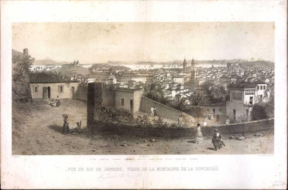Vue de Rio de Janeiro, prise de la Montagne de la Conceicão - Ciceri, Eugène e Benoist, Philippe (Seg. F. Hagedorn)