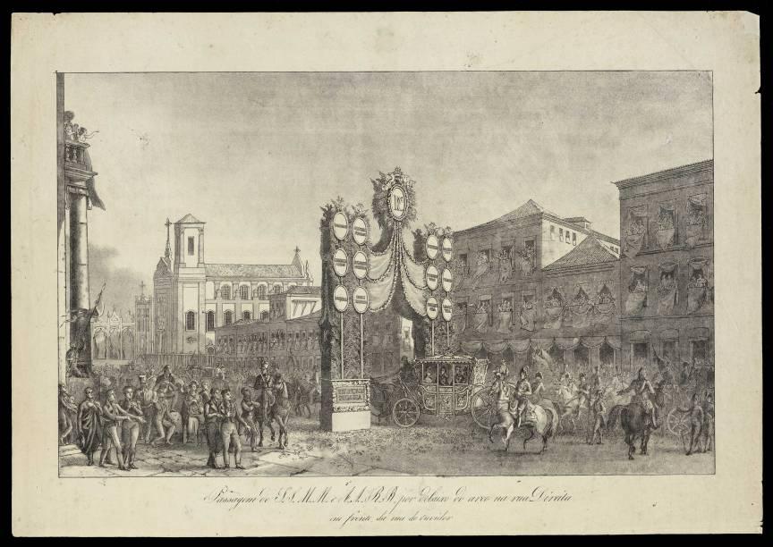 Passagem de I. S. M. M. e A. A. R. R. por debaixo do arco da rua Direita, em frente da rua de Ouvidor - Taunay, Thomas Marie Hippolyte