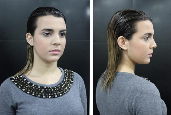 Finalize penteando os fios para trás com um pente bem fino, deixando-os bem alinhados. Esse penteado confere um ar futurista e elegante à mulher.<br>