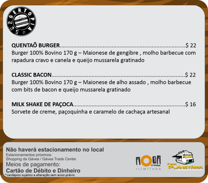 Cardápios burgertopia julho
