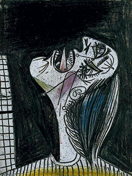 """A figura da mulher em desespero é um dos três chamados """"pós-escritos"""" à obra, ou seja, foram feitos após a conclusão de Guernica"""