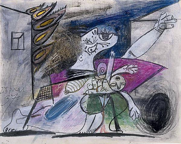 """Produzida em grafite, giz de cera, guache e colagem (nos cabelos """"em chamas"""" da mulher que segura um bebê), a obra seria dividida em duas figuras na tela finalizada — uma à esquerda, de uma mãe segurando o filho, e a outra à direita, de uma pessoa apavorada com o fogo"""