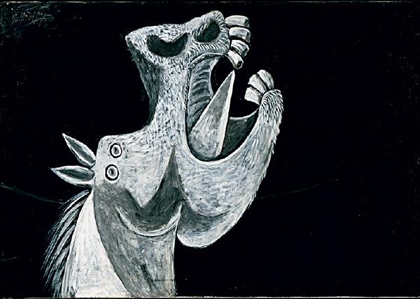 Ao lado do touro (e do seu correspondente antropomórfico, o minotauro), o cavalo é um animal recorrente na obra de Picasso, e aparece neste esboço, feito em óleo sobre tela