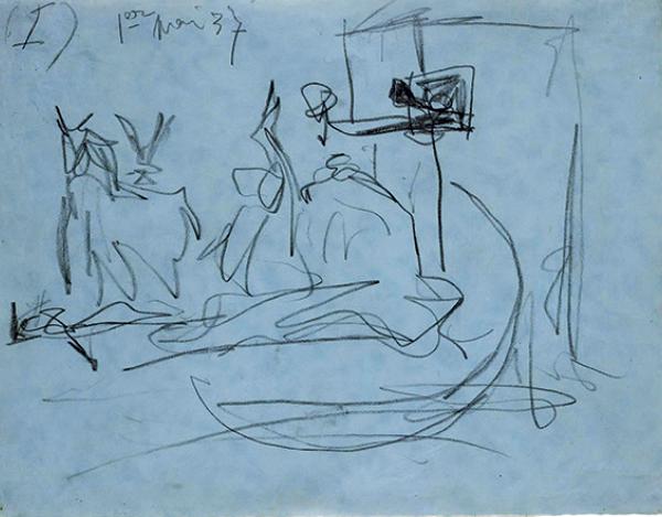 No primeiro esboço de Guernica, pouquíssimo apresentado em exposições internacionais, veem-se rabiscos que lembram o touro, o cavalo e a pessoa segurando uma vela — figuras que apareceriam na obra concluída