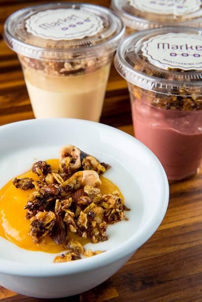 Iogurte com manga e granola (R$ 10,00): na lista de sobremesas servidas no copo
