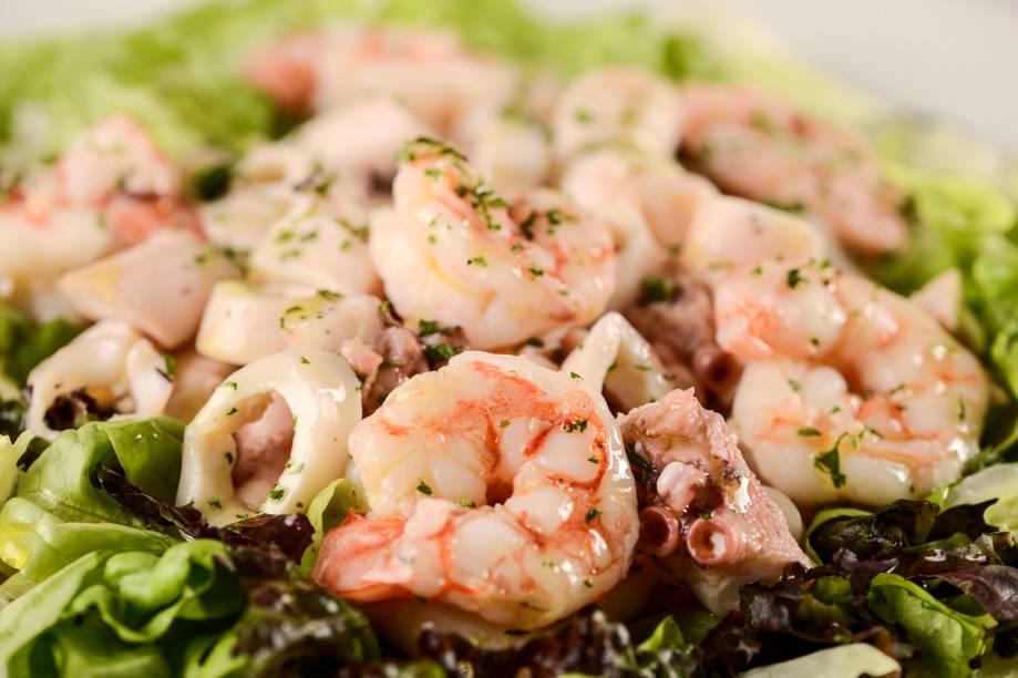 Salada de frutos do mar, com camarão, lula e polvo: no DAmici
