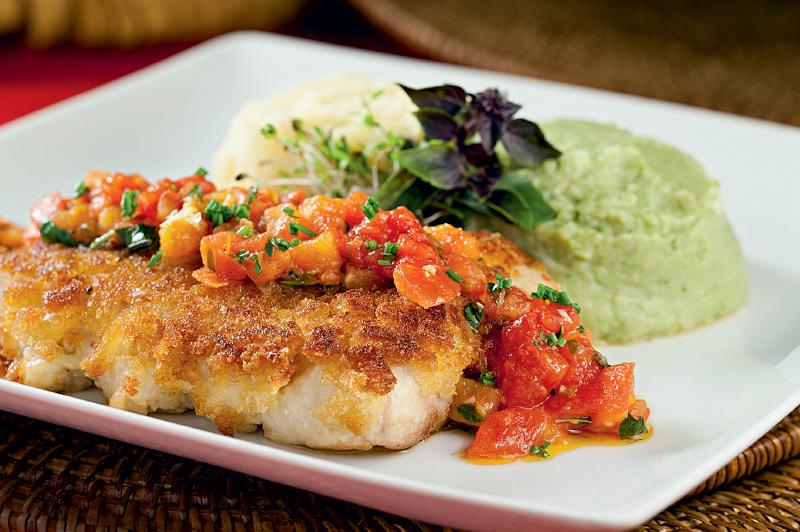 Peixe em crosta crocante com dois purês (R$ 38,90): sempre às quintas