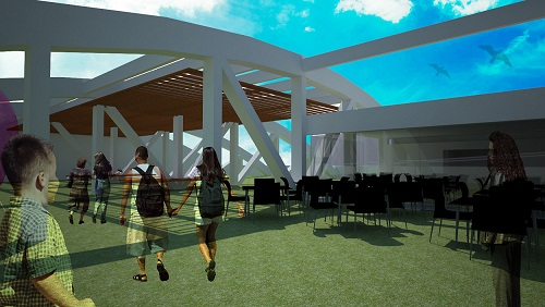 No primeiro piso, um café e espaço para peças teatrais e shows<br>