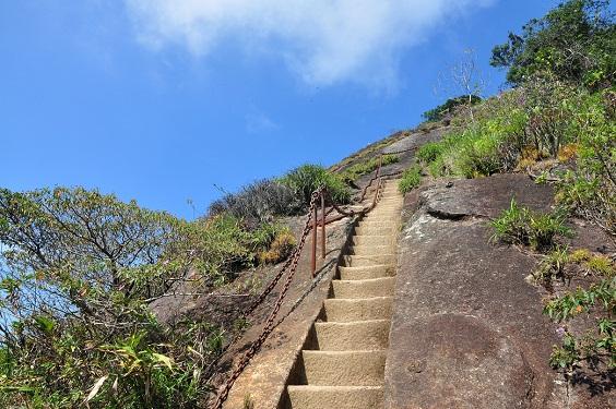 Durante uma visita do rei da Bélgica, Alberto I, em 1920, foi construída uma escadinha na rocha para ajudá-lo a chegar ao Pico da Tijuca. Alpinista, ele se recusou a seguir pelo caminho<br>