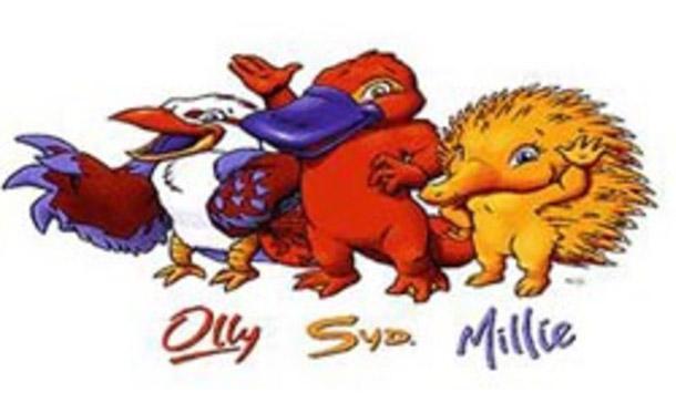 Pela primeira vez, as Olimpíadas tiveram três mascotes: o ornitorrinco Syd, o kookaburra Olly e a equidna Millie<br>