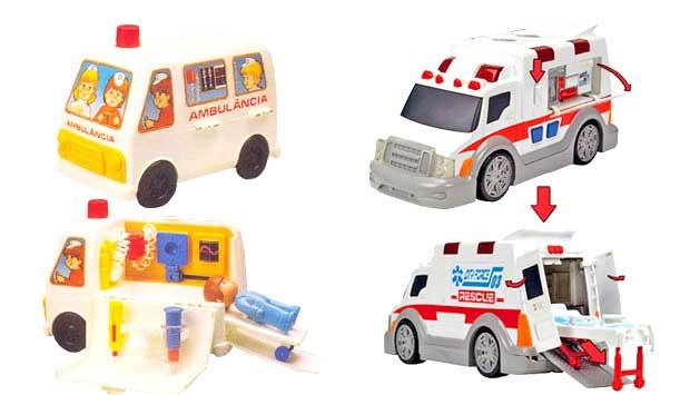 O primeiro brinquedo de médico foi a Ambulância do Dr. Saratudo, lançada em 1985, pela Estrela. Era um furgão com um consultório dentro, com direito a paciente, seringa, gesso e máquina de raio X. Desde então, surgiram vários brinquedos sobre a atividade<br>