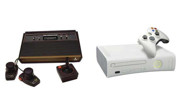 O videogame Atari foi lançado em 1977 nos Estados Unidos e foi o primeiro com cartuchos, o que permitia jogar centenas de jogos. Pac Man ou Space Invaders foram alguns dos jogos que ele consagrou. Mas cartuchos já são coisa do passado. Hoje o Xbox 360, da<br>
