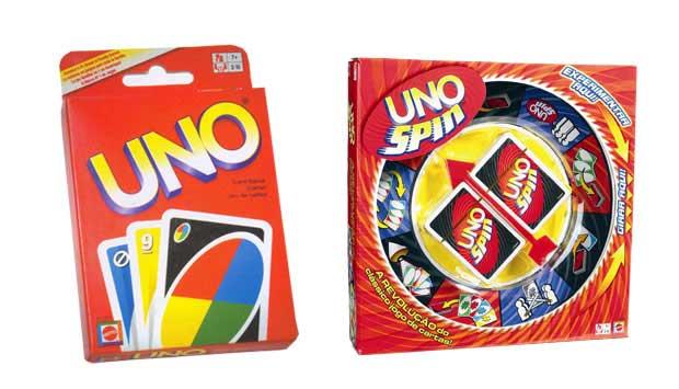 O jogo Uno, de cartas especiais em que o objetivo é terminar primeiro com suas cartas, faz sucesso desde a década de 70. No último ano, a Mattel lançou algumas variações que dão mais adrenalina ao jogo. Uma delas é o Uno Spin, em que uma roleta girada pod<br>