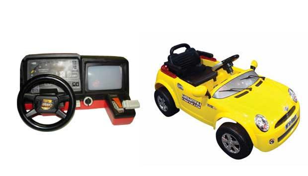 O videogame com direção e marchas permitia aos meninos dos anos 80 brincar de motorista sem sair do lugar. Hoje, a brincadeira é mais realista. Existem carros como o Super Car, elétrico que tem ré, direção, buzina, seta e cinto de segurança. Ele custa R$<br>