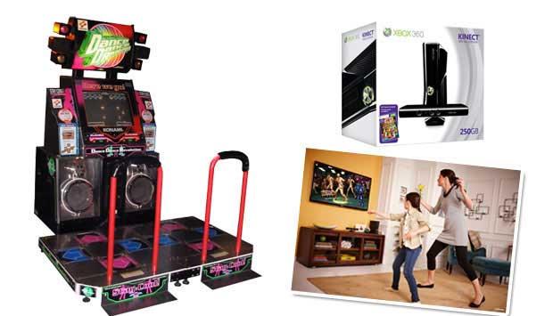 Originalmente criado para fliperamas, o Dance Dance Revolution foi adaptado com tapetes para ser jogado em casa. Consiste em pressionar setas com os pés no ritmo da música. Mas pressionar botões é passado! O Kinect, acessório do Xbox 360, capta com câmera<br>