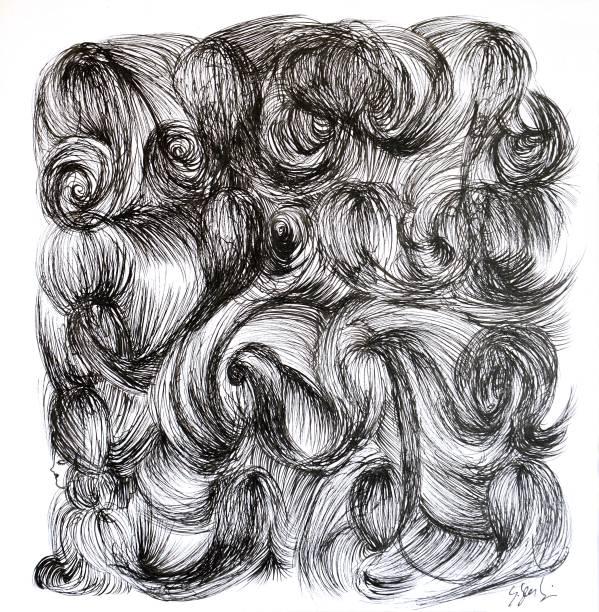 Obra de Guilherme Secchin: inspiração no tema de cabelos e perucas