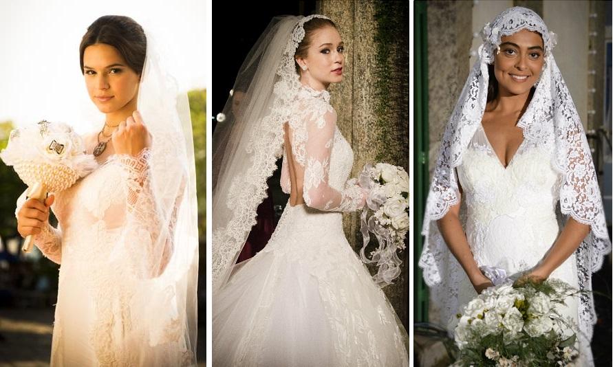 Noivas vestidas por Lethicia Bronstein na ficção: Bruna Marquezine, Marina Ruy Barbosa e Juliana Paes