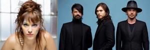 Zaz, estrela francesa da nouvelle chanson, e a banda 30 Seconds to Mars, de Jared Leto (centro): a caminho
