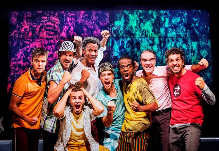 O elenco de Samba Futebol Clube: delicioso musical