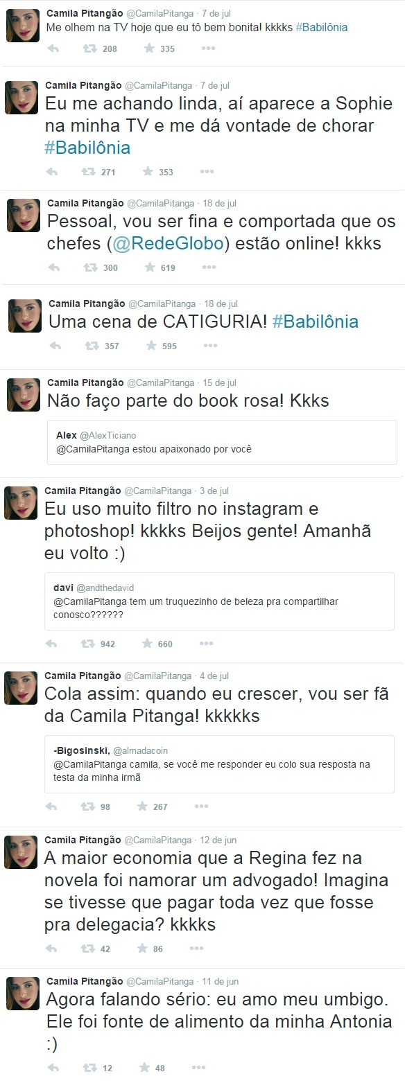 tweets camila pitanga