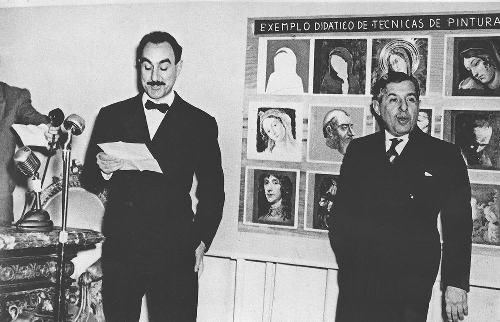 Pietro Maria Bardi e Francisco Assis Chateaubriand na inauguração do MASP em 1947