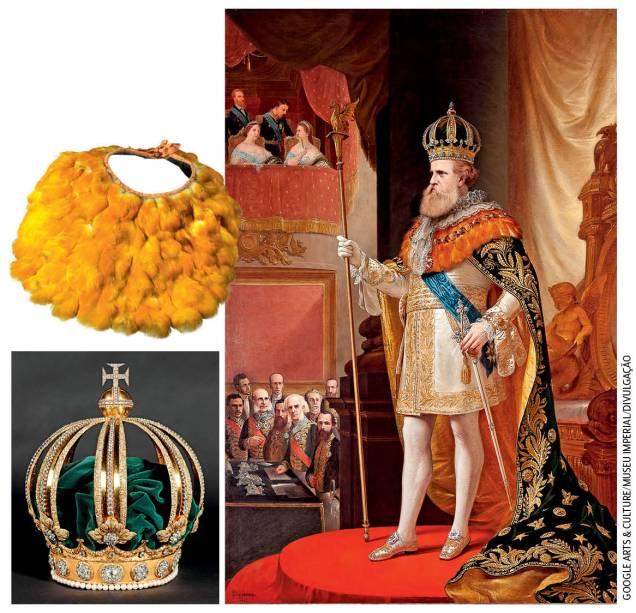 Museu Imperial: osignificado das insígnias e dos brasões do traje majestático usado pelo imperador Pedro II em sua coroação é explicado em detalhes na mostra virtual. As peças, da coroa à estola de penas de tucano, simbolizavam o poder e a afirmação do Brasil como nação