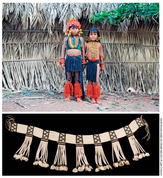 Museu do Índio: ahistória e o misticismo das miçangas foram resgatados pela antropóloga Elsje Lagrou. Para o povo wayana, as contas que enfeitam o corpo são sagradas, e teriam sua origem nas fezes do japu, um pássaro