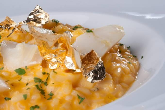 Risoto de abóbora e bacalhau com folha de ouro_3