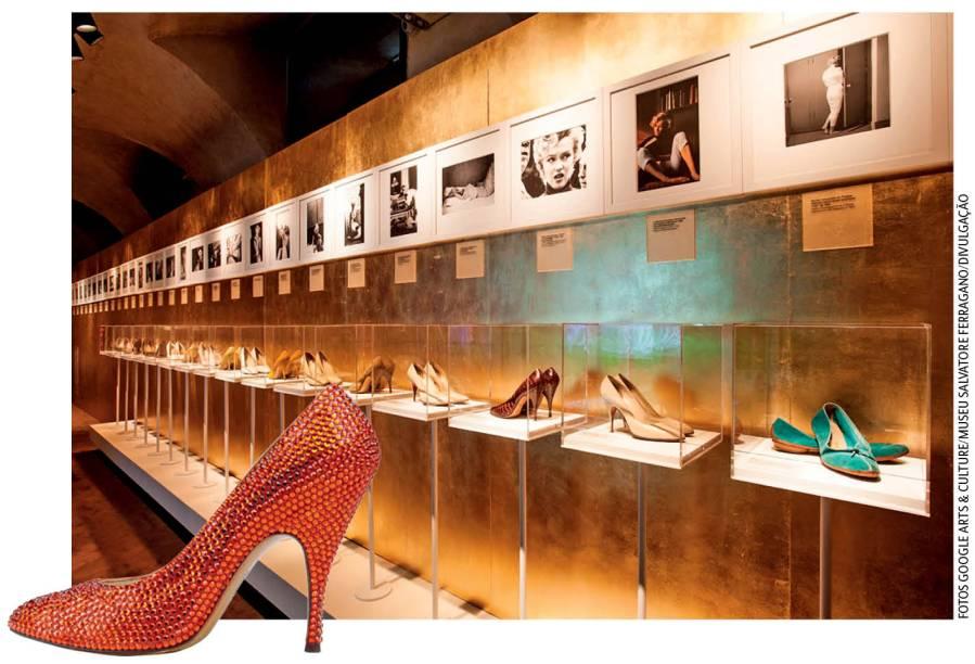 Salvatore Ferragamo: duas mostras revelam curiosidades das clientes mais famosas da grife italiana de sapatos. O modelo vermelho, em destaque, pertenceu a Marilyn Monroe