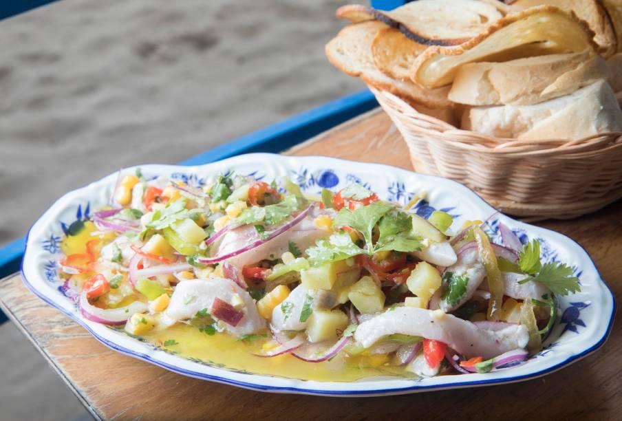 Ceviche de peixe com carambola, batata-doce, milho, pimentas cambuci e dedo-de-moça: criaçãodo chef Pedro de Artagão