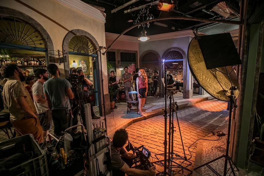 YouTube Space: gravação de esquete do Porta dos Fundos em um dos três estúdios do complexo, no Rio