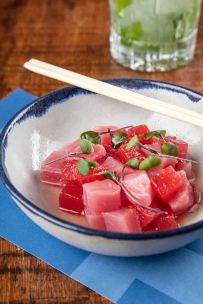 Ceviche de atum e melancia