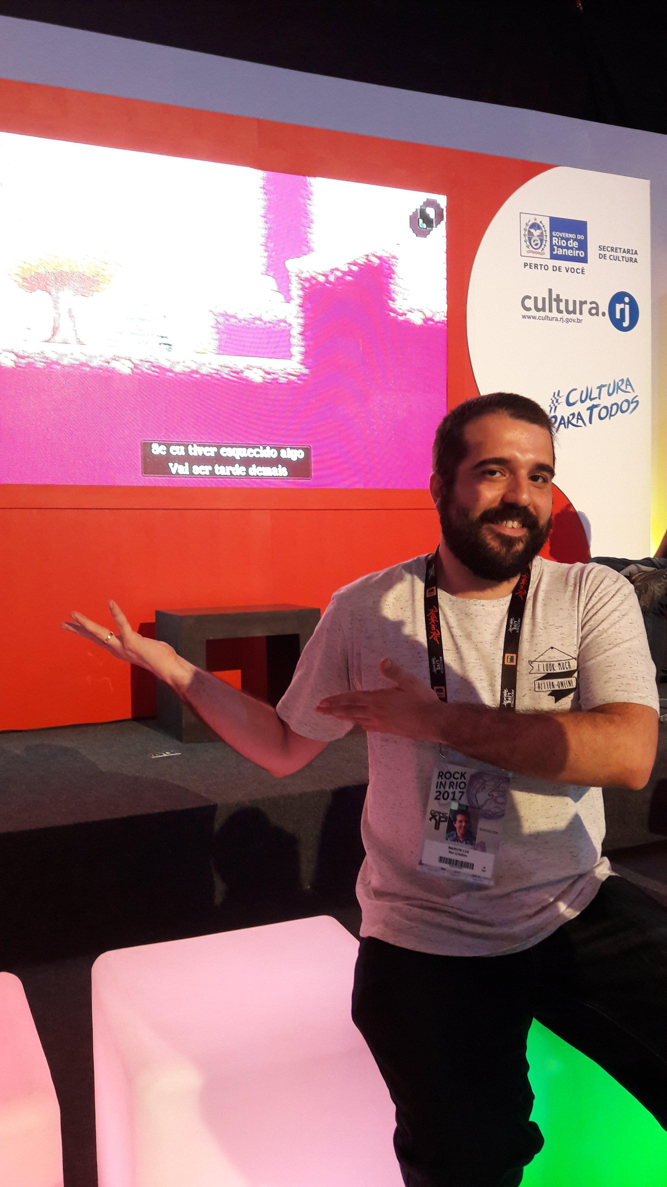 Mairon luz, game designer do jogo A Lenda do herói, no Rock in Rio 2017