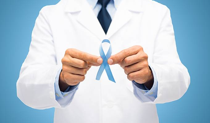 doctor with prostate cancer awareness ribbon