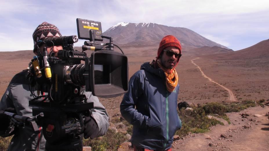 Tomada no sopé antes da escaladado Kilimanjaro