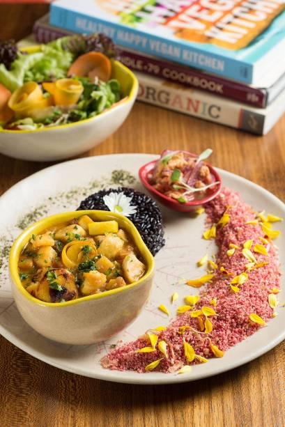 Exemplo de prato do dia:  saborosas opções vegetarianas